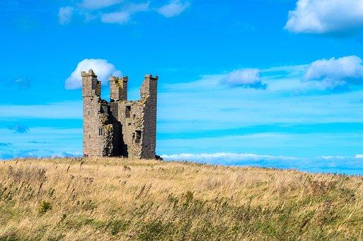 Dunstanburgh Castle, Castle, Ruin, Tower, Landscape