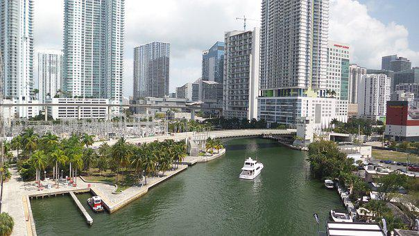 Miami, Booked, Port, Skyline, Yacht, Boot, Ship, Bank