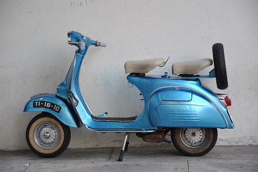 Scooter, Street, Sidewalk, Moto, Blue, Vintage, City