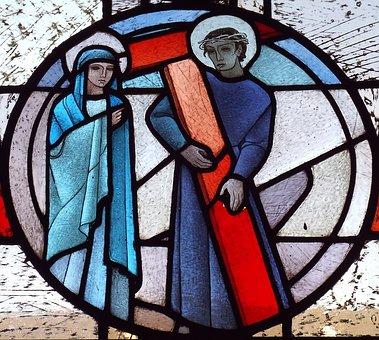 Trier, Dom, Glass Window, Way Of The Cross, Church