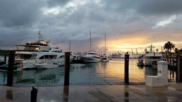 Harbor, Docks, Dock, Boats, Sunset, After Rain