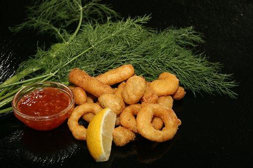 Fish, Prawns, Blæksprutteringe, Food, Refreshments