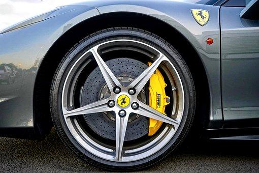 Ferrari, Wheel, Alloy, Car, Vehicle, Automobile, Speed