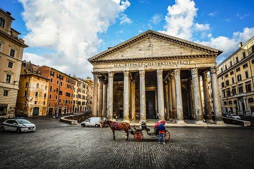 Rome, Italy, Roman, Pantheon, Morning, City, Monument