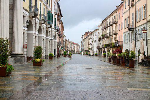 Cityscape, Via Ancient, Rain, Paved, Shops, Portici
