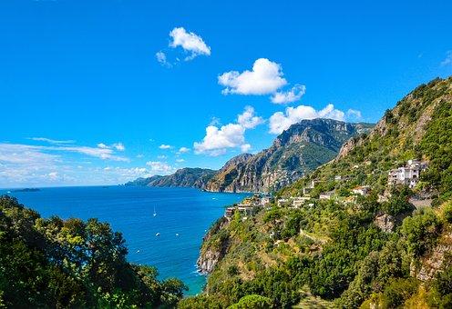 Amalfi, Coast, Sorrento, Italy, Shoreline, Coastal