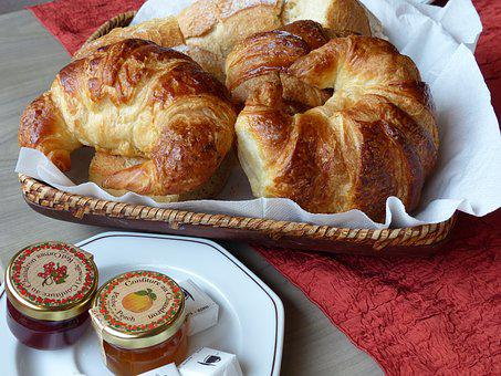 France, Vosges, Breakfast, Croissant, Jam, Tablecloth