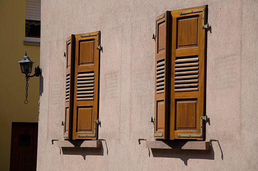Shutters, Midday Sun, High Contrast, France, Alsace