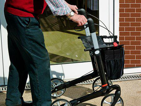 Rollator, Old, Retirement Home, Retirement, Go, Ill