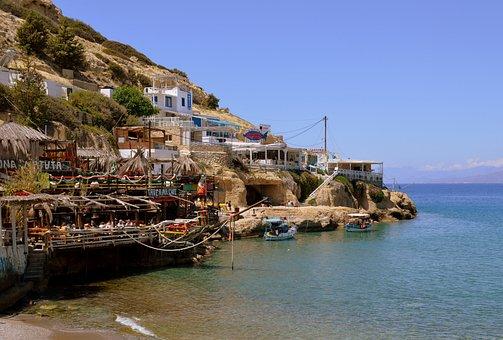 Crete, Matala, Greek Island, Tavern, Idyllic, Greece