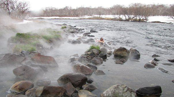 Hot Springs, River, Winter, Pairs, Back On Track, Snow