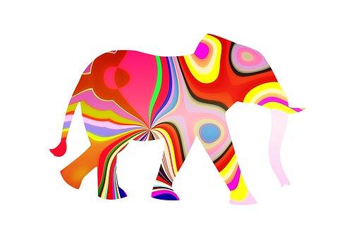 Elephant, Elephant With Pattern, Pattern Elephant