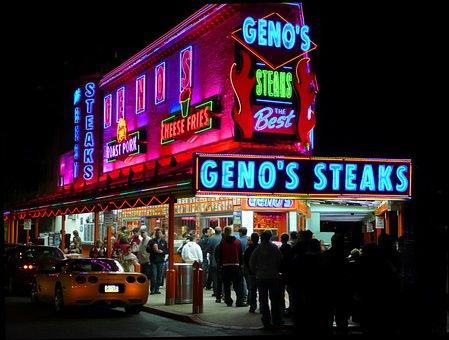 Philadelphia, Cheese Steaks, Geno's, Sandwich, Landmark