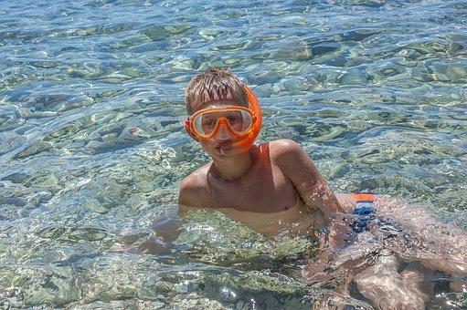 Child, Boy, Dive, Diving, Mask, Swim, Water, Sea, Pool