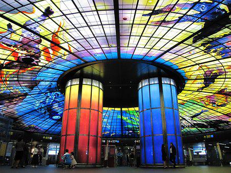 Roma Termini, Large Hall, Color, Cylinder, Painted