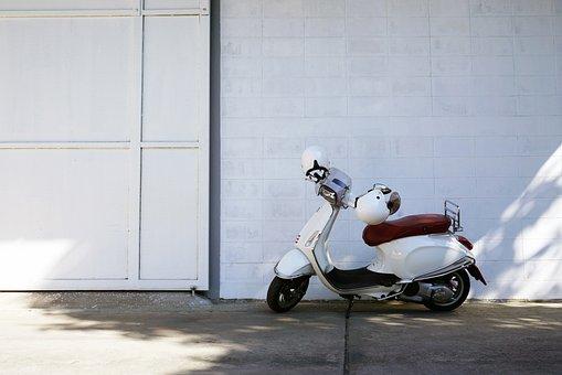 Vespa, White, Wall, Scooter, Bike, Vehicle, Classic