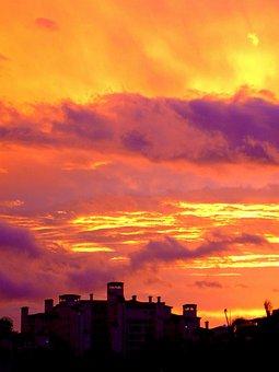 Fiery, Skies, Sunset, Miami, Florida, Tropical
