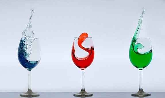 Wine Glasses, Glass, Splash, Crystal Glass, Clear