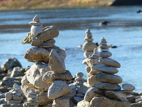 Cairn, Water, River, Stones, Stone Tower, Coast
