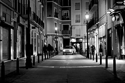 Night, City, White, Black, Lights, Shadows, Car