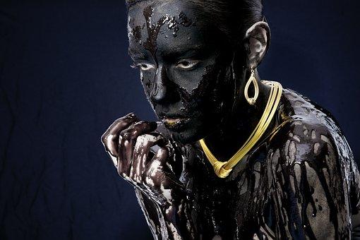 Necklace, Painting, Black, Model, Woman, Studio