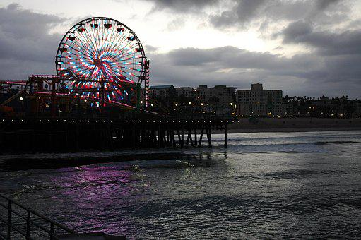 Santa Monica, Pier, Beach, California, Ocean