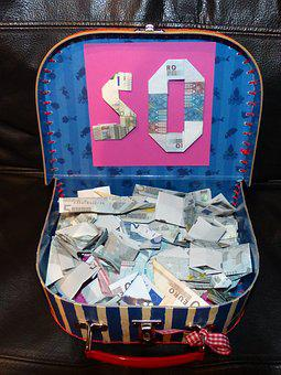 Fifty, 50, Euro, Luggage, Currency, Bank Note, Money