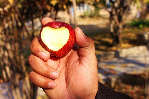 Apple, Heart, Love, Red, Fruit, Shape, Fresh, Sweet