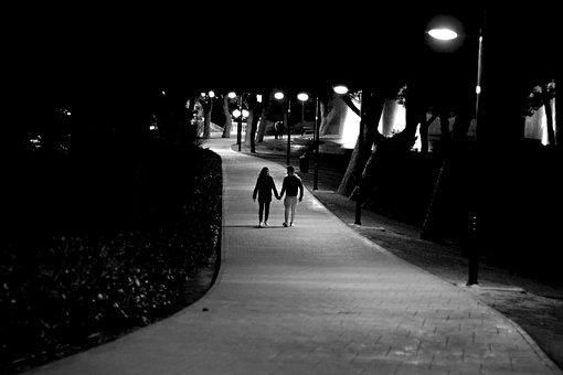 Love, Couple, Boys, Teens, Guy, Girl, Night, Path