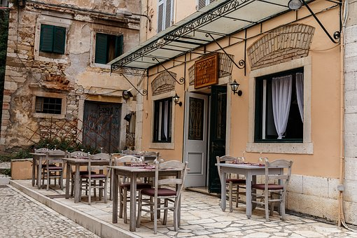 Vacation, Travel, Corfu, Restaurante, Nopeople, Town