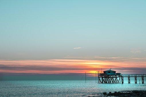 Sea, Plaice, Net, Side, Fishing, The Sea, Sunset