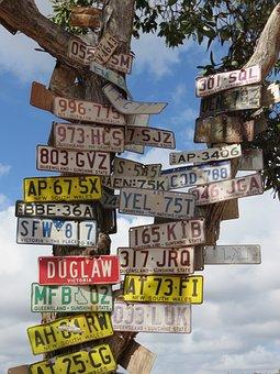 Old Telegraph Trek, Cape York, Signs, License Plates
