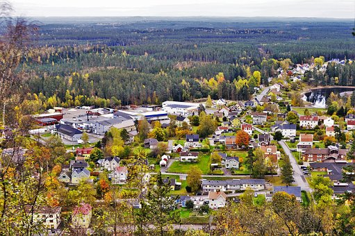 City, Small Town, Sweden, Taberg, Forest, Tree
