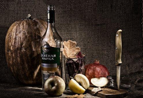 Still Life, Photo, Knife, Bottle, Pumpkin, Autumn, Mood