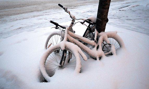 Bikes, Bicycles, Bike, Snow, Winter, Snowed Over, City