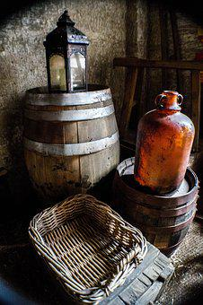 Barrel, Basket, Glass Bottle, Cellar, Wooden, Old
