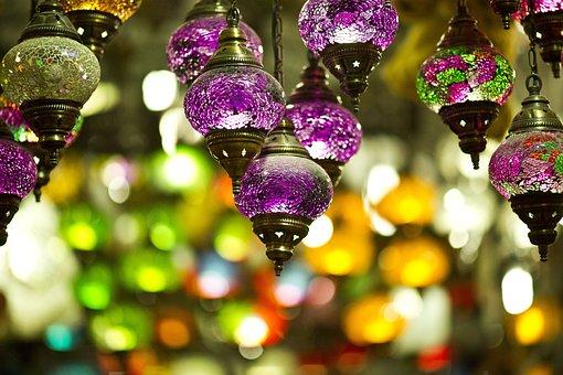 Light, Color, Chandelier, Lamp, Purple, Yellow, Macro