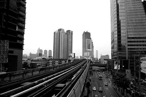 City, Bangkok, Train, Pathways, Rails, Railway, Section