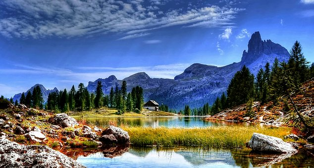 Dolomites, Lake, Mountains, Landscape, Mood, Forest