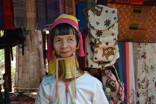 Women, Female Giraffe, Padaung, Thailand, Neck, Tribe