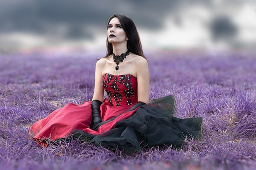 Goth, Gothic, Lady, Purple, Grass, Clouds, Surreal