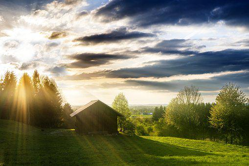 Hut, Rural, Home, Light Beam, Dramatic, Building, Old
