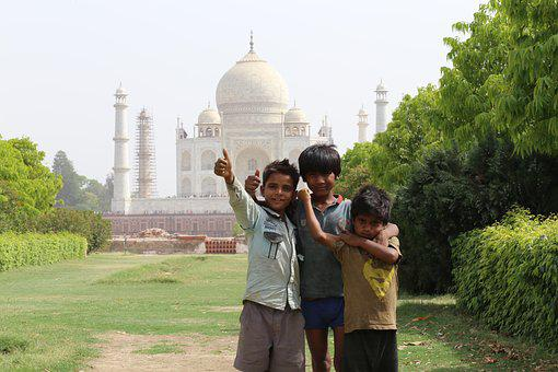 Taj Mahal, Indians, Children, India, Mehtab Bagh, Agra