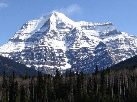 Mount Robson, Mountain, Rockies, Forest, Snow, Peak