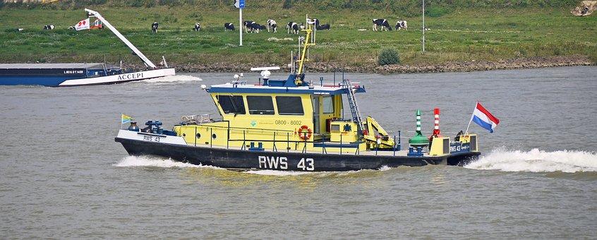 Rhine, Control Boat, Netherlands, Nederland, Rws