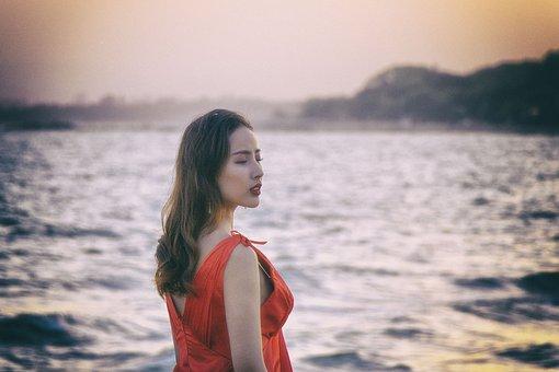 Portrait, Girls, Long Hair, Red Corset, Beach