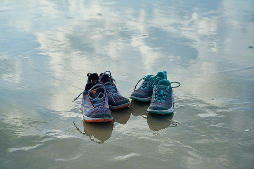 Shoes, Water, Reflection, Sports, Background, Nature