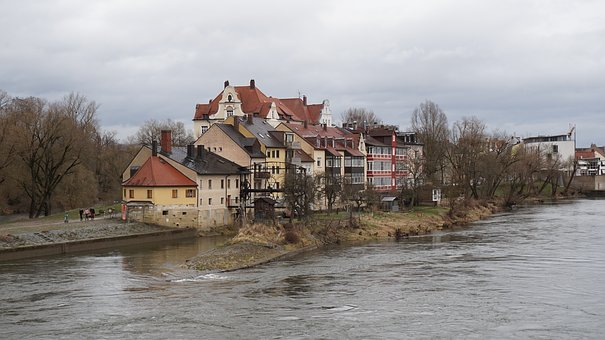 Houses, River, Regensburg, Trees, Old Houses, Tradition