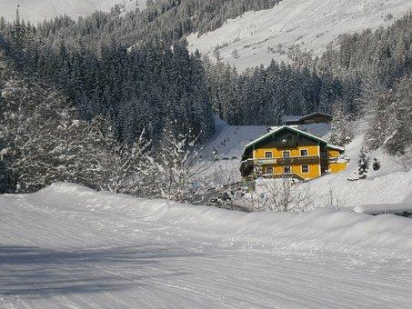 Mountain, Snow, Austria, Chalet