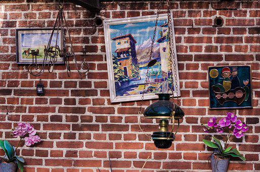 Brick, Wall, Painting, Decorations, Style, Vintage